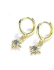 Yikoly Örhängen dam silver 925 kreoler enkla långa blixt örhängen mode söta örhängen hoop örhängen