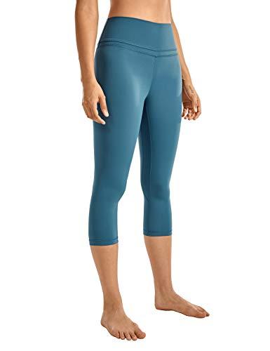CRZ YOGA Damen Yoga Capri Leggings Sport Hose mit Hoher Taille-Nackte Empfindung -48cm Petrol Blue 19'' - R418 38