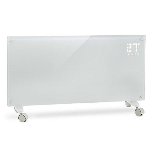Klarstein Bornholm - Radiatore Convettivo, Termosifone Elettrico, 2000 Watt, Display LCD, 2 Livelli di Riscaldamento, Protezione da Surriscaldamento, Telecomando, Bianco