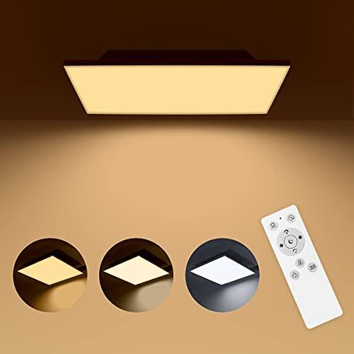 LED Panel Dimmbar mit Fernbedienung, LED Deckenleuchte Farbwechsel mit 6 RGB Farben, 18W /3000K-6500K/30x30cm, LED Deckenlampe für Schlafzimmer/ Küche/ Flur