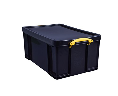 Really Useful Kunststoff-Aufbewahrungsbox recycelt robust stapelbar 64 Liter 440 x 710 x 310 mm schwarz