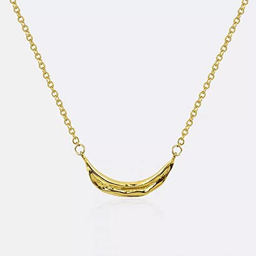 RTEAQ Moda Collar Joyas Gargantilla Collar de Curva Irregular de Color Plateado para Mujeres, Hombres, Collar con dijes de Metal de Color Dorado, joyería Francesa Parejas Fiesta Regalos