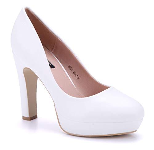 Schuhtempel24 Damen Schuhe Plateau Pumps weiß Blockabsatz 11 cm High Heels