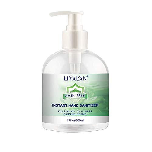 LIYAL'AN Hand Sanitizer Gel (500ml) with Aloe Vera - 75% Ethyl Alcohol-Based Moisturizing Liquid Sanitizer with Pump - Soothing & Moisturizing Sanitizing Gel - Non-Sticky & Quick Drying