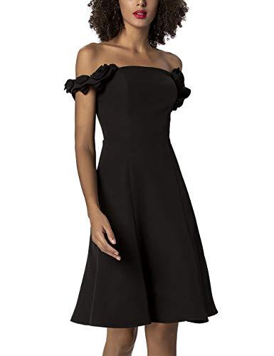 Apart Damen Zauberhaftes, Cocktailkleid, Corsagen-Oberteil, Rüschenträger, glockenförmig ausgestellte Form Kleid für besondere Anlässe, schwarz, 42