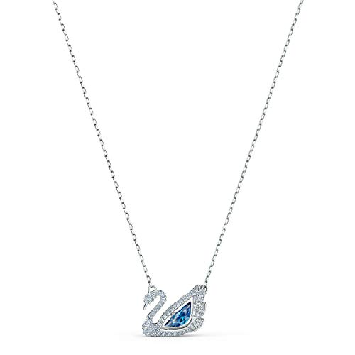 Swarovski Women's Dancing Swan Necklace, Brilliant Blue and White Crystals, Rhodium Plated Metal, from the Swarovski Dancing Swan Collection