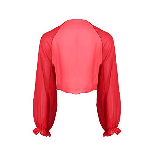 MSemis Chal de Boda Fiesta Cárdigan Abierto para Mujer Toreras para Vestisdo Novia Bolero de Ceremonia Camisola de Playa Estola de Gasa Mangas Volantes Rojo Talla Única
