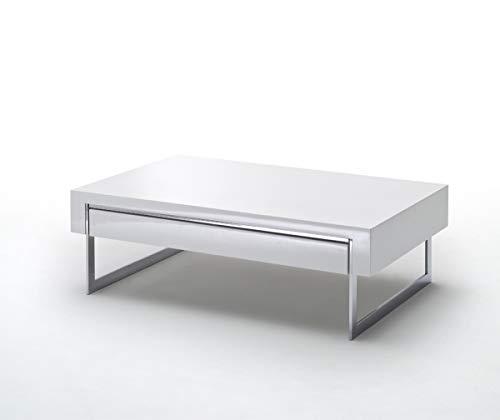PEGANE Table Basse avec 2 tiroirs en laqué Blanc Brillant - L110 x H40 x P70 cm