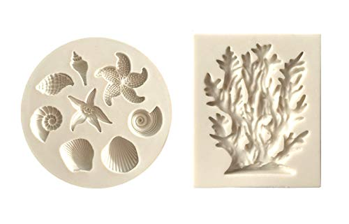Mini Seashell Starfish Coral Shaped Fondant Molds DIY 3D Sea Creatures Candy Sugar Craft Silicone Baking Mould Pastry Cookie Cake Decoration Tools 2 Pcs