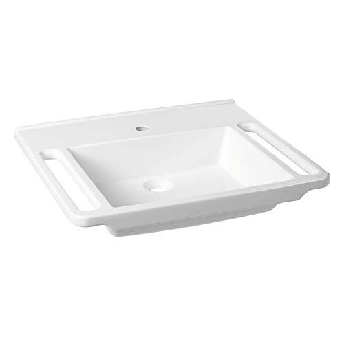 KIBOMED GTM-603 Senioren-Waschbecken weiß | 600x555mm | ohne Überlauf-Schutz | einfache Griffkante & Handtuchhalter | behindertengerecht | Rollstuhl unterfahrbar