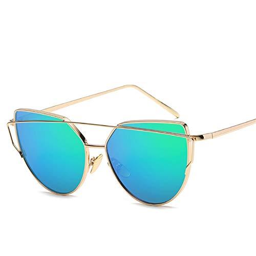 SCAYK Gato Ojo Gafas de Sol Mujeres Lujo Marca diseño Espejo Lente Vintage Gafas de Sol Rosa Oro Metal uv400 Ojo Gafas Moda Gafas de Sol para Mujeres (Lenses Color : Gold Green)