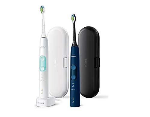 Philips Sonicare HX6851/34 ProtectiveClean 5100 Lot de 2 brosses à dents électriques - 2 brosses à dents soniques avec 3 programmes de brossage, contrôle de pression, étui de voyage