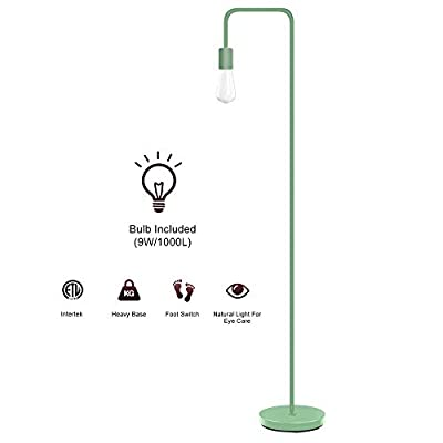 Industrial Floor Lamp - Floor Lamp with Eye Caring LED, Bulb Included, Led Floor Lamps for Bedroom, Floor Lamps for Living Room, in-Line On/Off Foot Switch,Green Emerald