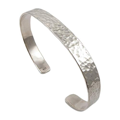 Solid 925 Sterling Silver Cuff Hammered Bracelet Gift Boxed