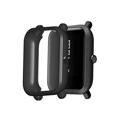 Bsopem Compatible con Amazfit Bip S, funda de silicona suave a prueba de golpes, carcasa protectora antiarañazos, funda protectora TUP Smart Watch para Amzfit Bip 1S Lite A1608 (negro)