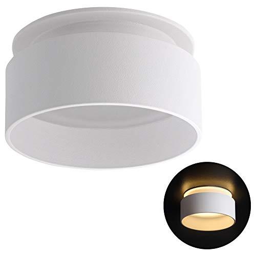 SSC-LUXon LED Deckenleuchte Sudara mit indirektem Licht inkl. LED 5W warmweiß 230V - Einbau Design Deckenspot Lampe weiß rund