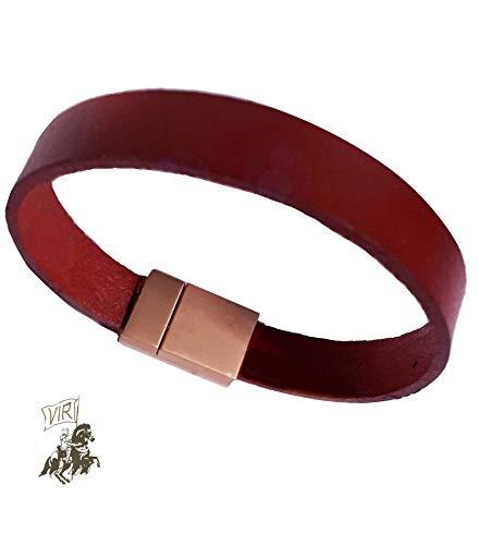 """Armband """"Vir"""" Leder Herren Magnetverschluss Bracelet Nichelfrei Schmuck Vintage Geschenkpaket"""