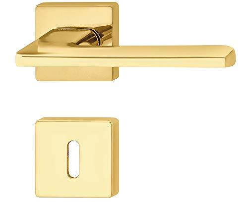 ALPENSTAHL Design Türdrücker-Garnitur Innentüren Drückergarnitur Messing poliert - LDH 3350 | Türgriff Zimmertür auf Tür-Rosette | BB - Buntbart | 1 Set - Moderne Türbeschläge Gold-Optik mit Schrauben