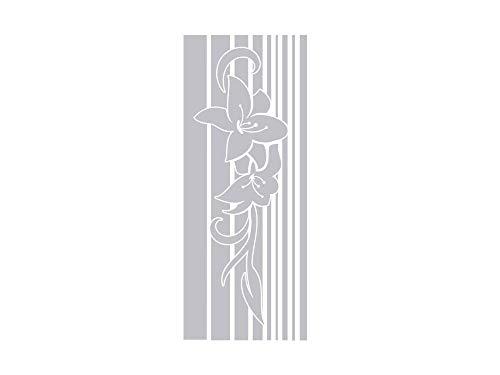 GRAZDesign Fenstertattoo Retro, Banner mit Blumen/Streifen, Fensterfolie für Badezimmer, Glastattoo für Dusche / 74x30cm