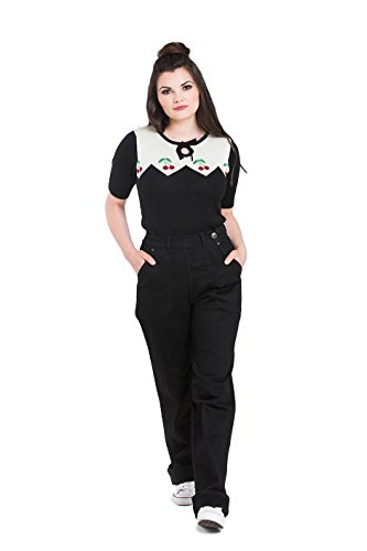 Hell Bunny Weston Denim Jeans 40er 50er Jahre Vintage Retro Rockabilly Hose - Schwarz (2XL)