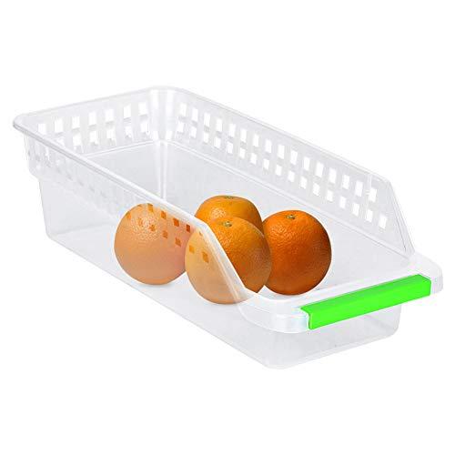 Plastic stapelbare keuken, koelkast opbergbak, vriezer opslag organisator, fruit behandeld keuken voor keukenkasten, werkbladen 4 Pack - duidelijk