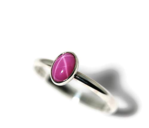 Oval Created Pink Star Ruby and Sterling Silver Ring