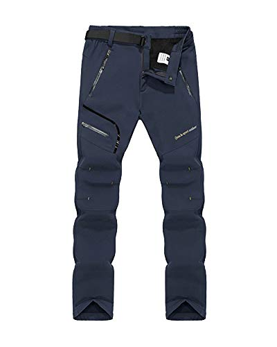 Hombre Mujer Elasticidad Exterior Impermeable Softshell Camping Senderismo Pantalones Azul2 L