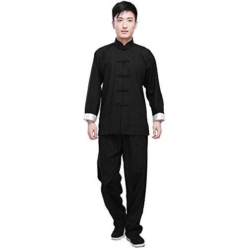 G-like Kung Fu Herren Anzug - Traditionelle Chinesische Kampfkunst Tai Chi Qigong Wing Chun Shaolin Wushu Lange Ärmel Training Freizeit Kleidung Uniform Jacke Hose (Schwarz, S)