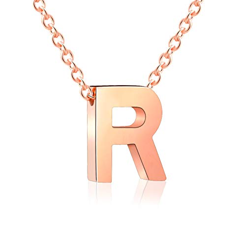 VU100 Initial R Letter Necklace Rose Gold Stainless Steel Alphabet Pendant Minimalist Jewellery for Women Girls