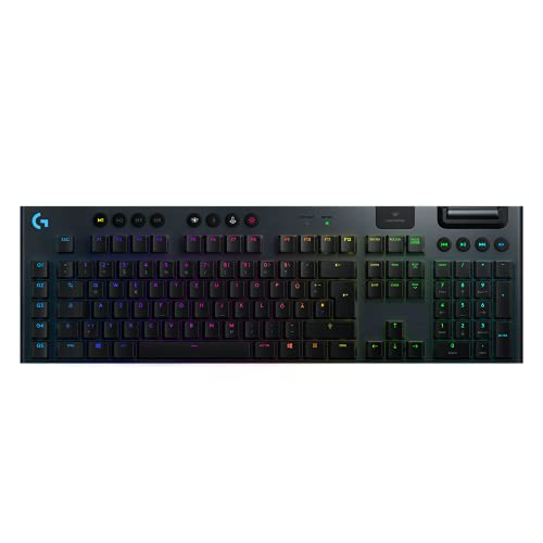 Logitech G915 LIGHTSPEED kabellose mechanische Gaming-Tastatur, Taktiler GL-Tasten-Switch mit flachem Profil, LIGHTSYNC RGB, Ultraschlankes Design, 30+ St&en Akkulaufzeit, Deutsches QWERTZ-Layout