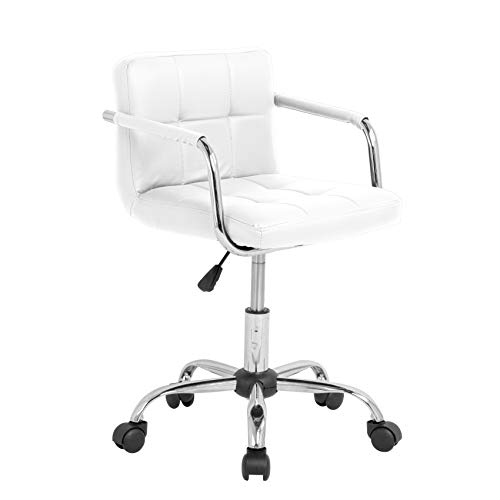 Neo PU cuero acolchado computadora oficina escritorio silla cromo piernas elevación giratorio pequeño ajustable (blanco)