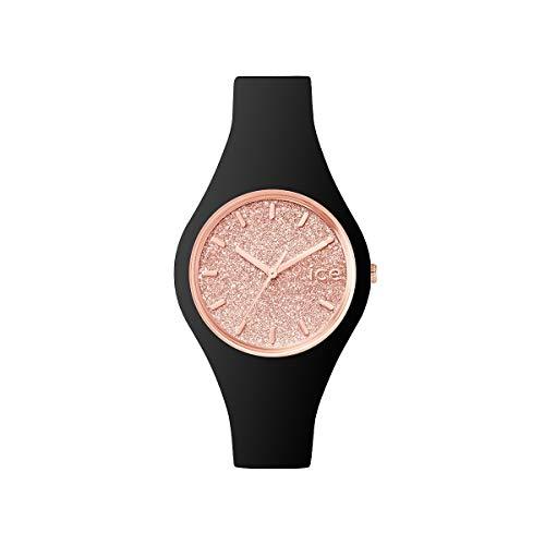 Ice-Watch Ice Glitter Black Rose-Gold, Orologio Nero da Donna con Cinturino in Silicone, 001346,...