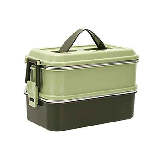 Fiambrera japonesa Bento Box para el almuerzo, caja de almuerzo divisor, contenedor de almuerzo para adultos, fiambrera de metal, vintage, gran capacidad, viaje en la oficina, color verde