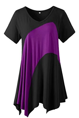 LARACE Tunic Tops for Women Color Block V-neck Flattering Asymmetrical Hemline Long Shirt(Black 2X)