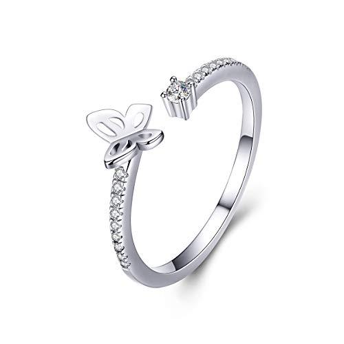 Cyrkonia mały motyl otwarte oświadczenie pierścionki S925 srebro wysokiej próby drobny kamień urodzenia kryształ regulowany wieczność zaręczyny pierścionek na palec opaska urocza biżuteria dla kobiet dziewczyn BFF