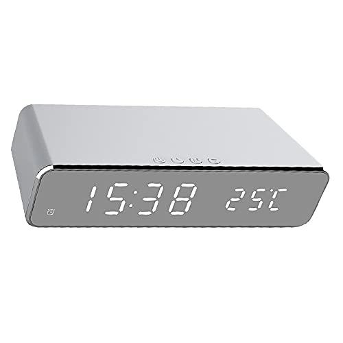 DERCLIVE Reloj despertador eléctrico LED con cargador inalámbrico de teléfono Termómetro digital de escritorio