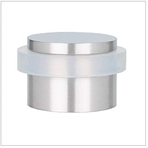 EVI Herrajes I-140-B - Fermaporta adesivo, in acciaio inossidabile e gomma bianca, finitura opaca