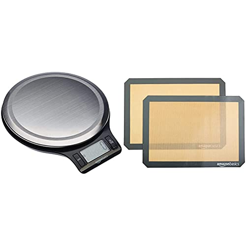 Amazon Basics Stainless Steel Digital Kitchen Scale with LCD Display, Batteries Included & Silicone, Non-Stick, Food Safe Baking Mat - Pack of 2