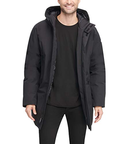 DKNY Herren Water Resistant Hooded Logo Jacket Parka, schwarz, Large