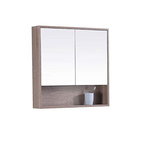 Liefde lamp massief hout badkamer spiegel kast met plank badkamer muur opknoping verborgen opslag kast HD anti-mist badkamer kast