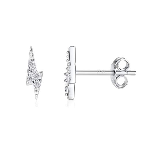 Kzslive Sterling Silver Stud Earrings Silver Hypoallergenic Small Simulated Diamond Earrings Dainty Lightning Bolt Cubic Zirconia Earring Gifts for Women Valentine's Gift