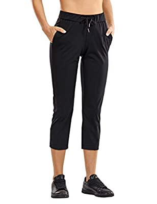 CRZ YOGA Women's Stretch Capri Pants Travel Mid Rise Drawstring Joggers Casual Jogging Lounge Pants Crop with Pockets Black Large