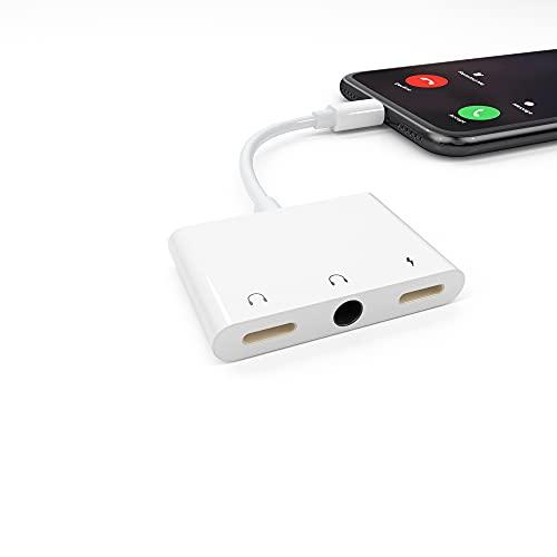 Adaptateur de Charge Audio,Prise Casque 3,5mm Adaptateur Jack 3 en 1[Audio + Recharge] pour Phone11 Pro Max XS/XS Max/XR/X / 8/8 Plus / 7/7 Plus (Support iOS 9.2 ou Supérieur)