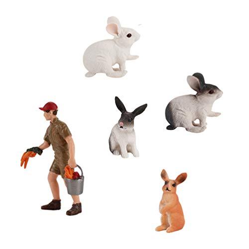 TOYMYTOY Estatuillas de Animales de Granja Juguetes Juego de Juego Estatua del Criador de Conejos Niños Aprendiendo Juguetes Educativos para Niños Niñas Cupcake Topper Decoración de