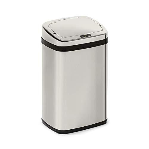 Klarstein Cleansmann cubo de la basura con sensor - 30 litros de volumen, sin tocarlo: apertura y cierre automáticos, soporte para bolsa de basura, materiales: tapadera de plástico ABS, cromo