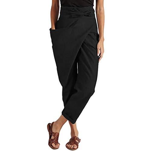 Jodimitty Damen 7/8 Jogginghose Haremshose Baggy mit Taschen Pumphose Elegant Sommerhose Leichte Yoga Sweatpants Trainingshose Freizeithose