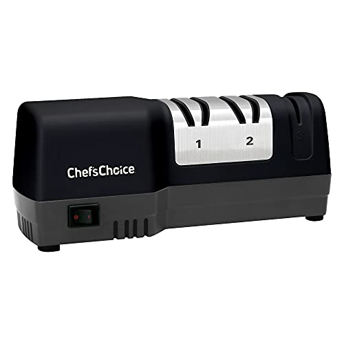 Chef'sChoice 250 Hone Hybrid Combines Electric and Manual Sharpening for Straight and Serrated 20-degree Knives Uses Diamond Abrasives for Sharp Durable Edges, 3-Stage, Black