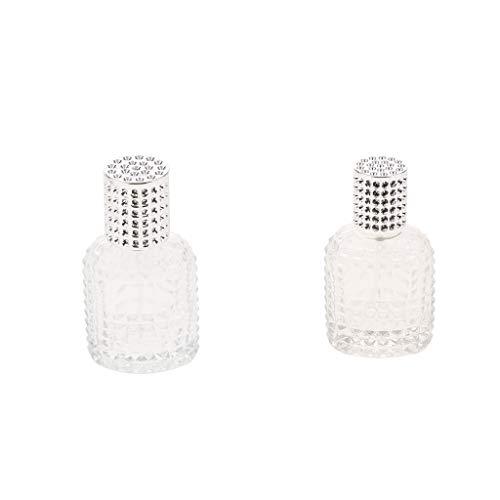 FLAMEER 2pcs 30ml 50ml Mini Glass Perfume Bottle Empty Spray Pump Bottles Silver