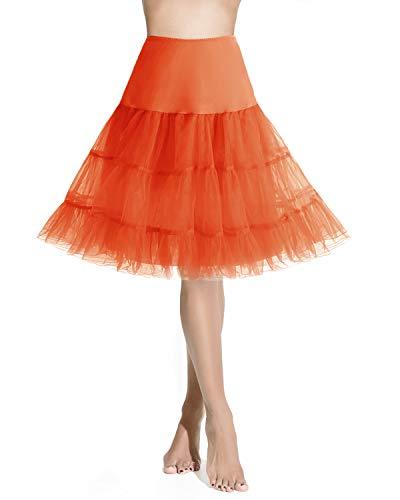Homrain ふわふわパニエ カラースカート ひざ丈 ボリューム フリルいっぱい 裏地付き カラーパニエ オレンジ XLサイズ