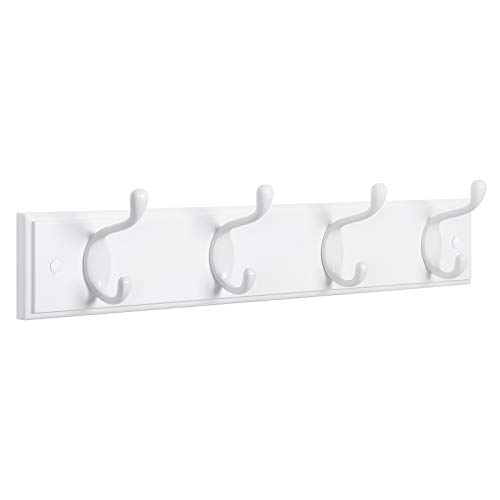 SONGMICS Perchero de Pared con 4 Ganchos de Metal, Perchero de Pared de Madera para Dormitorio, Entrada, Baño, Blanco LHR23WT